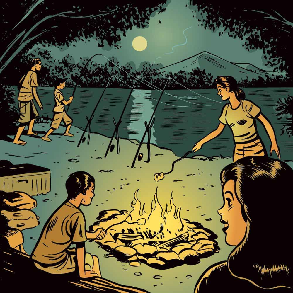 catfish camping campfire illustration