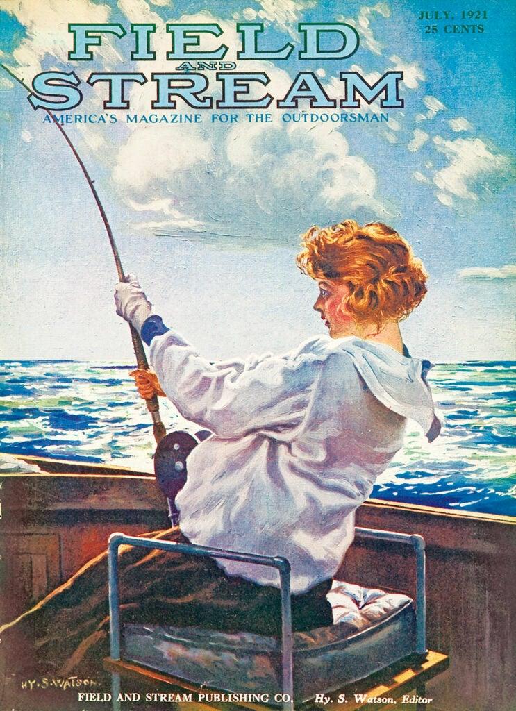 women, vintage, cover, F&S, fishing, boat, lake