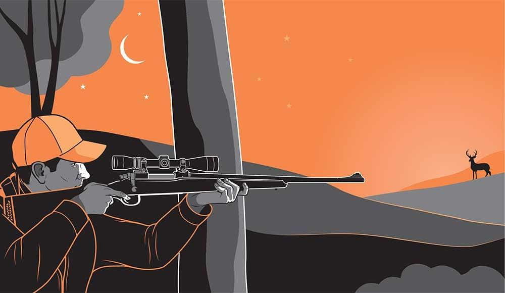 hunting buck at night illustration