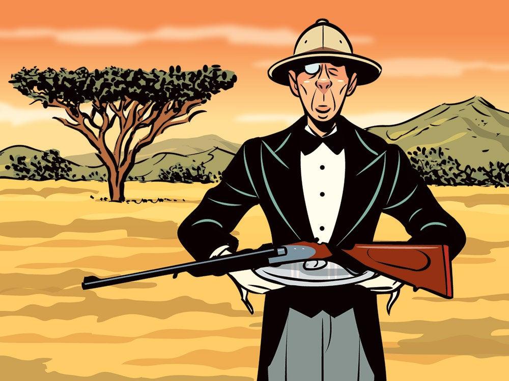 illustration of butler holding rifle on safari