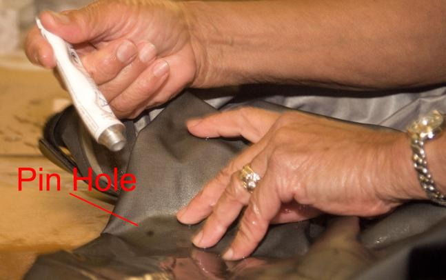 Find pin holes in your Gore-Tex with rubbing alcohol in a spray bottle.