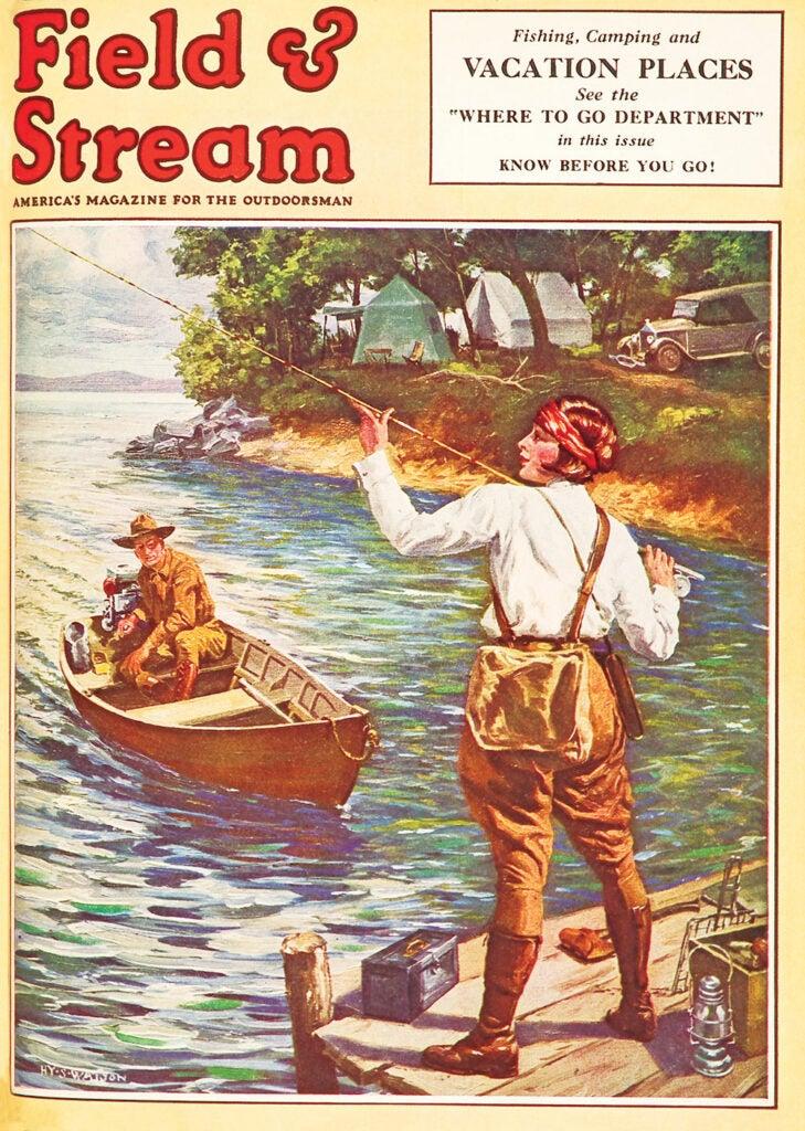 women, vintage, cover, F&S, fishing, hunting, gun, boat, water