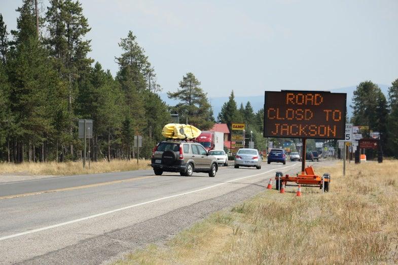 Wild Blaze in Grand Teton Closes Road to Yellowstone