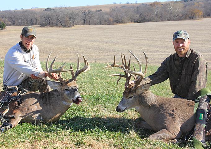 Photos: Hunting Buddies Take 2 Trophy Kansas Bucks in 1 Wild Morning