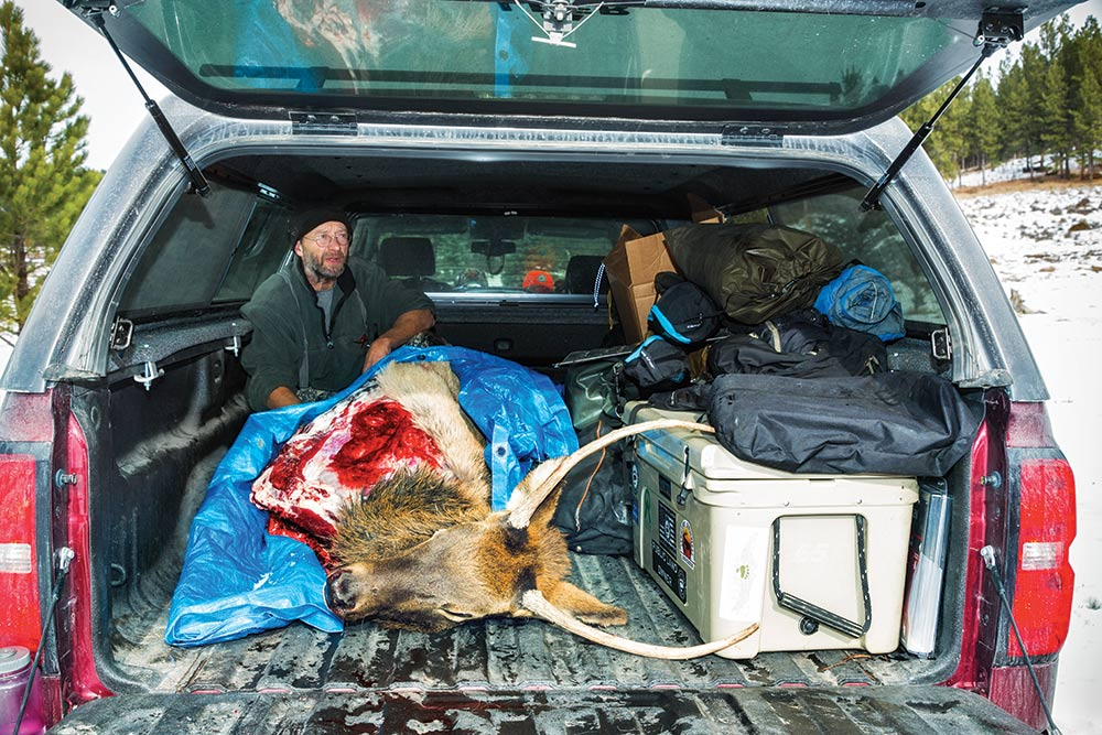 truck packed out after elk hunting