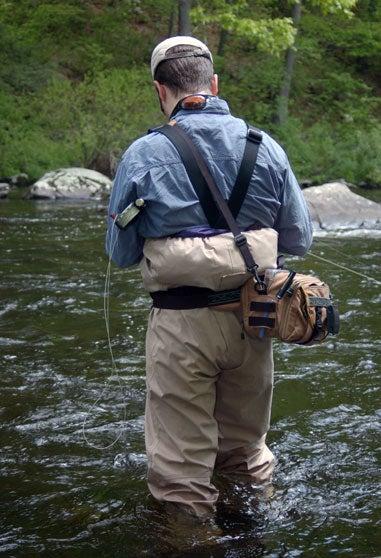 man fishing in a stream