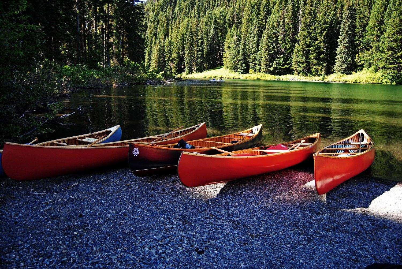 canoes on a beach, wooden canoe, Canada