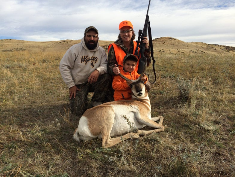 Barb Baird with her pronghorn and her guides