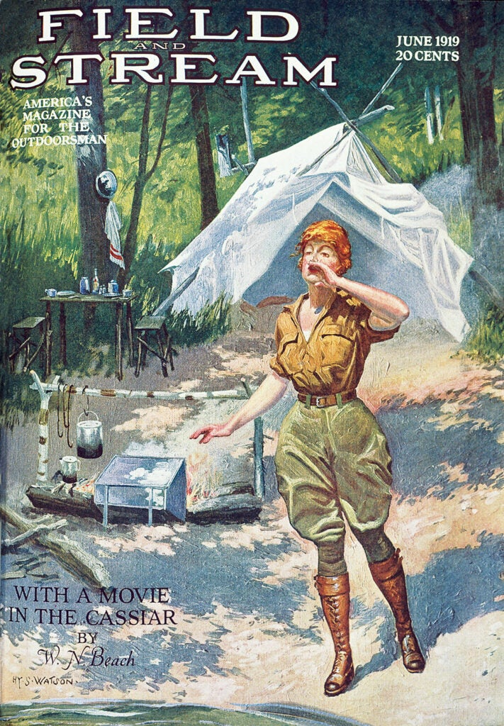cover, vintage, F&S, camping, woman