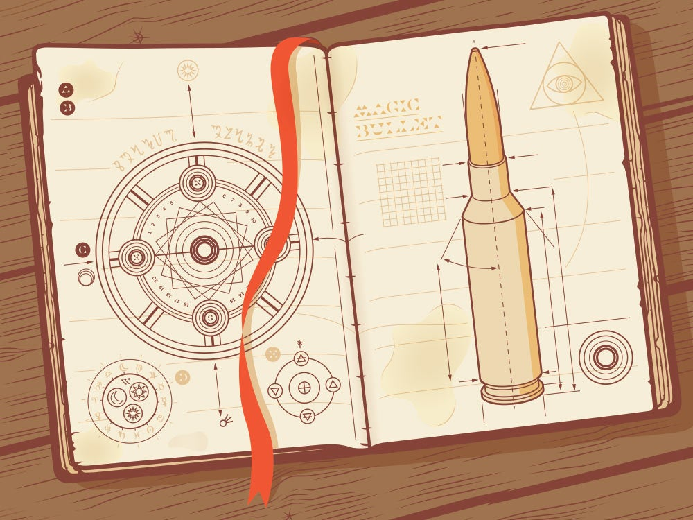 illustration of a bullet and symbols