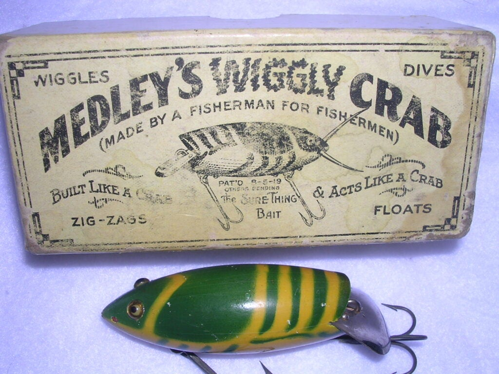 Harry L. Medley of Los Angeles patented the Medley's Wiggly Crab in 1919.