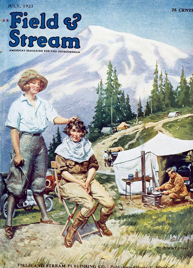 woman, vintage, cover, F&S, camping, women, haircut