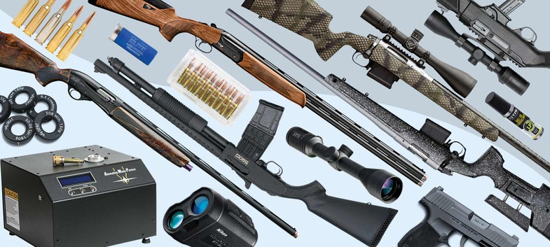 collage of guns and shooting gear