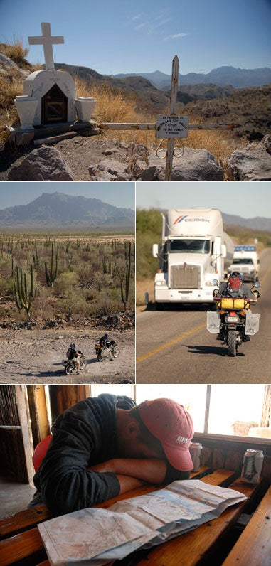 traveling baja california mexico by Kawasaki KLR650 dual-sport motorcycle to catch marlin roosterfish trout bonefish dorado shark jack and back to san diego up mexico highway one watching the baja 500