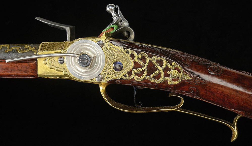 King Louis XV flintlock repeater lever detail