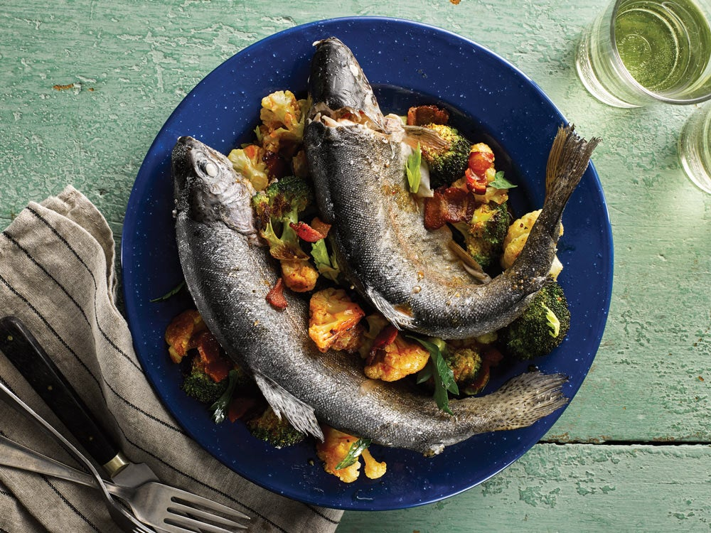 Trout au Bleu With Roasted German Salad