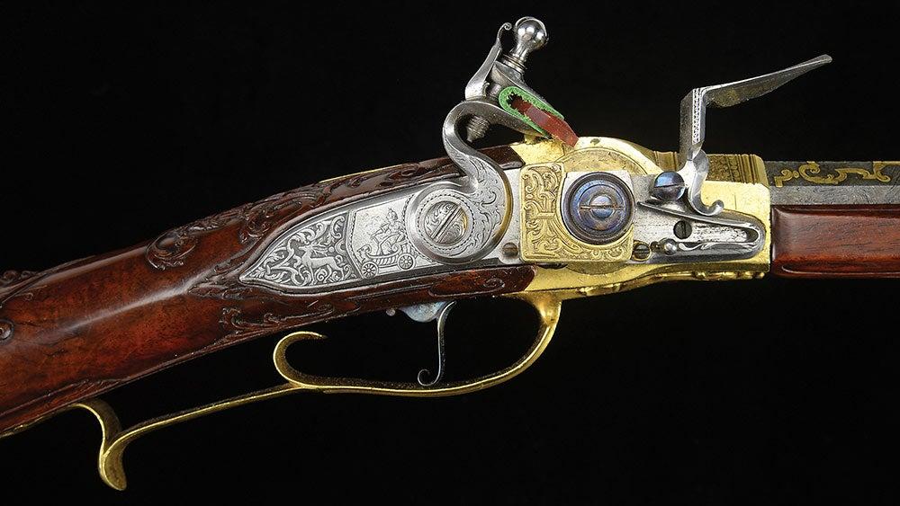 King Louis XV flintlock repeater detail