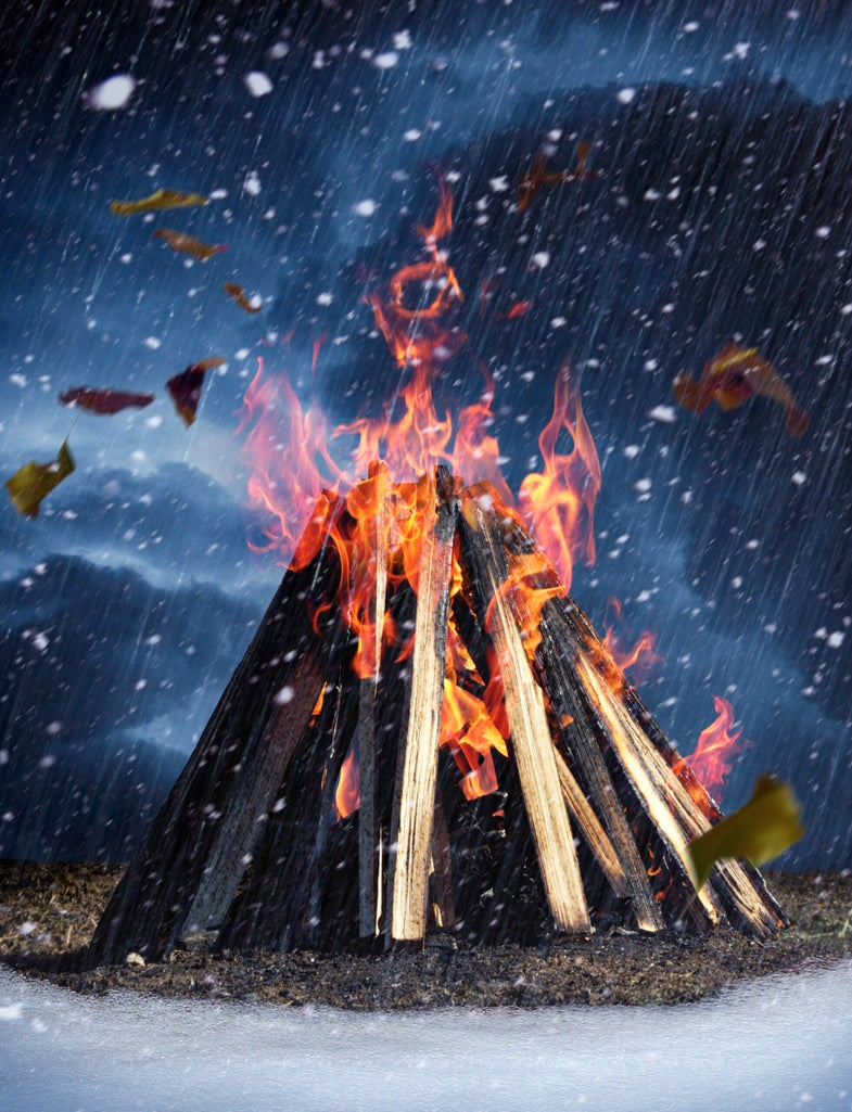 How to Build a Survival Fire in Bad Weather