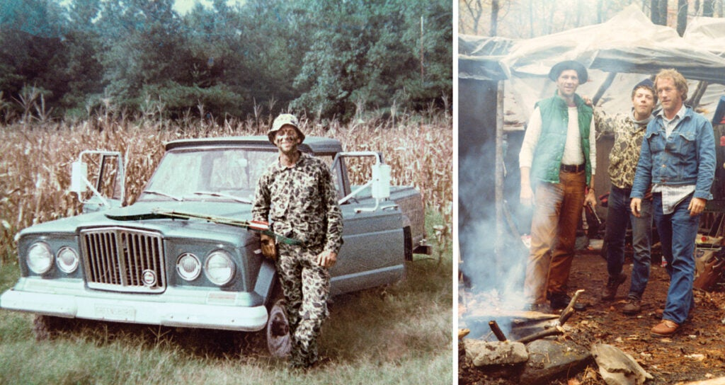 Antique photos of a hunter standing next to an old truck.