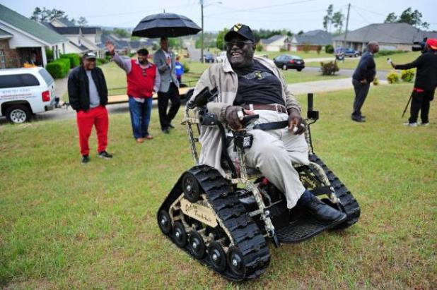 Vet's New Wheelchair Will Let Him Fish Anywhere. And I Mean Anywhere