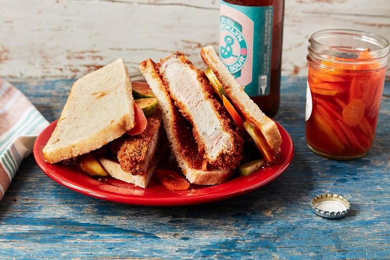 wild hog tonkatsu sandwiches on a plate