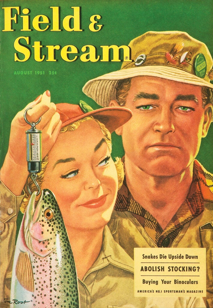 woman, vintage, F&S, cover, gloating, fishing, husband