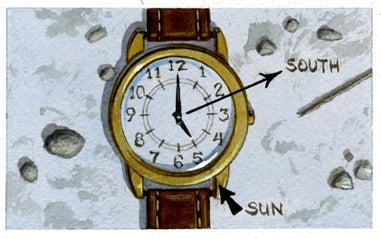compass watch, homemade compass, survival tip, tell direction, sun compass