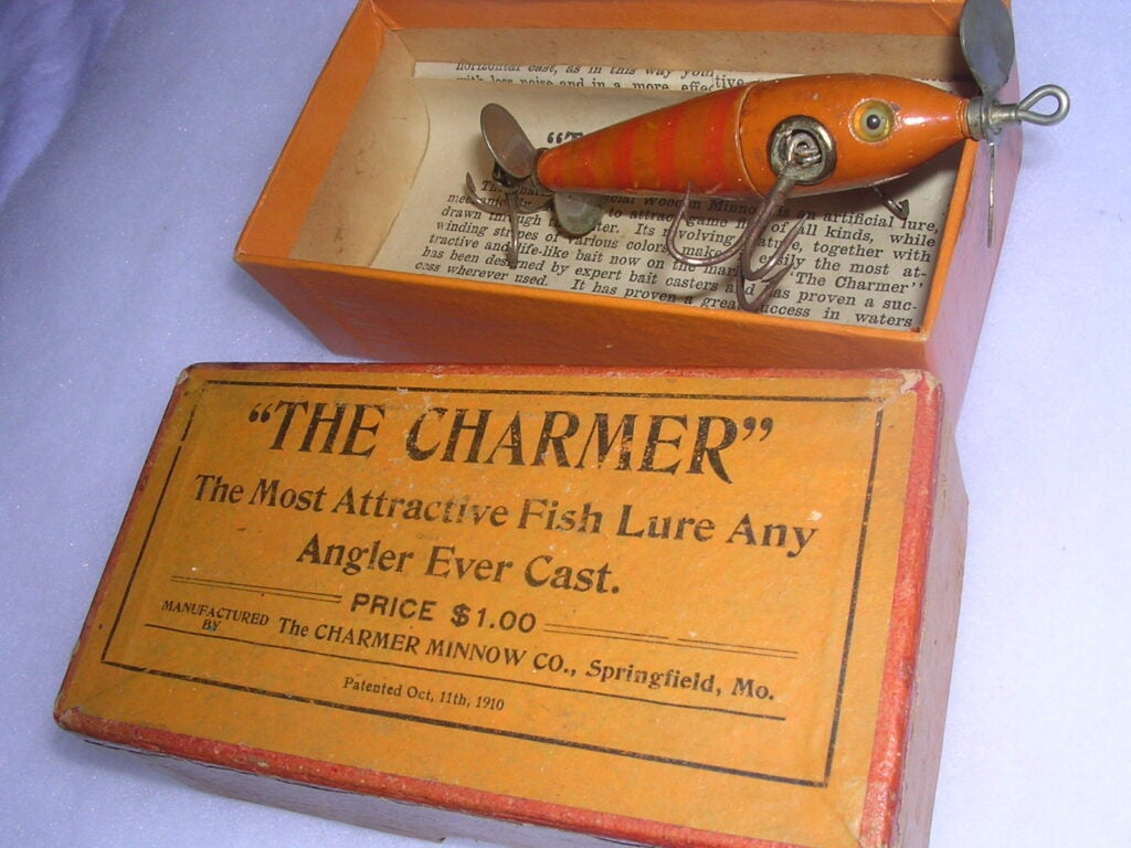 The Charmer Minnow, dating to the 1911 era, was made in Springfield, Mo.