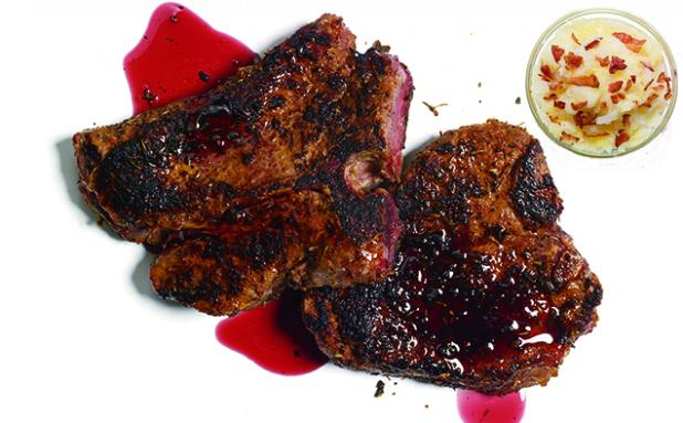 Blackened Venison Steaks with Red Wine and Black Pepper Syrup