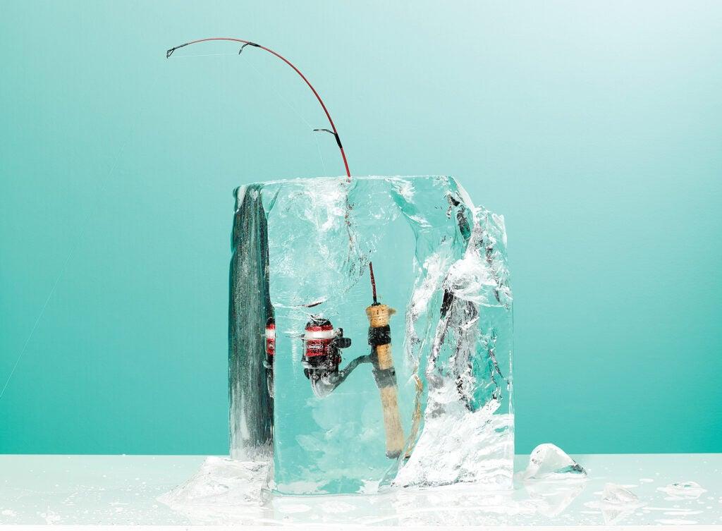 fishing rod in ice