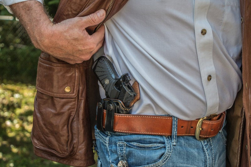 a concealed handgun in a hip holster