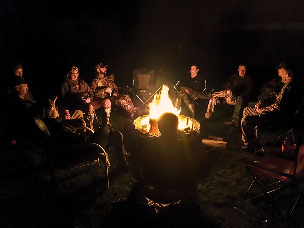 post bear hunt camp fire