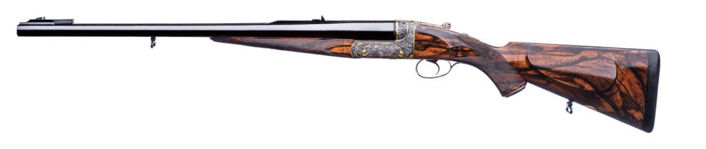 The Westley Richards Droplock Double Rifle on a white background.