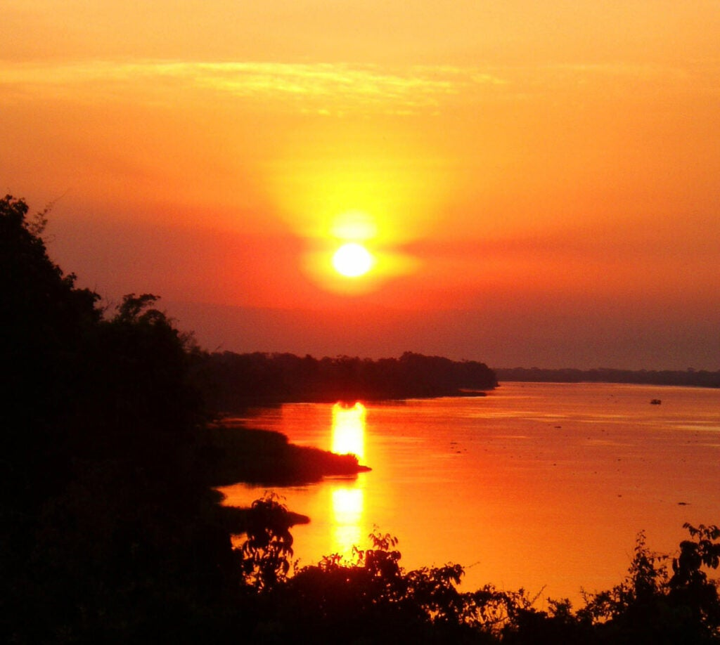 Sunset over African Nile River