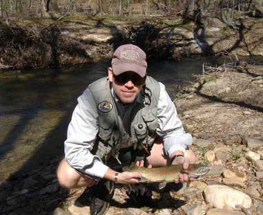 While flyfishing the Lower Mountain Fork River in Broken Bow, Okla., Douglas George caught this 17-inch rainbow.