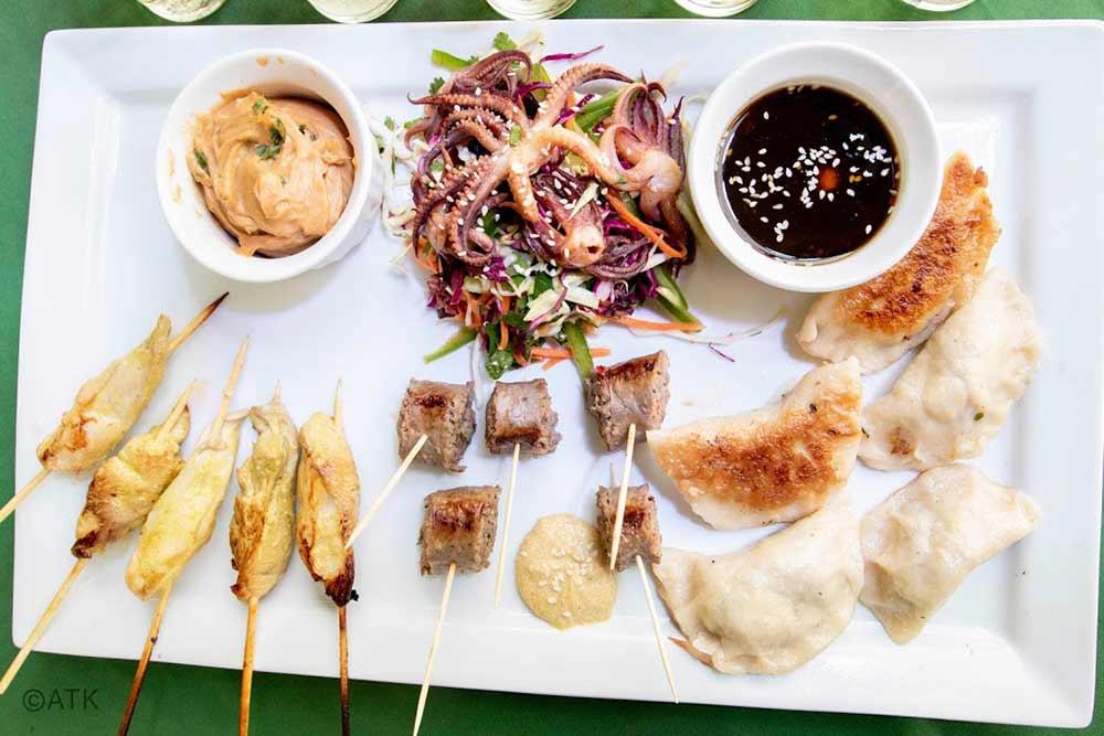 chukar satay venison sausage and duck morel pot stickers
