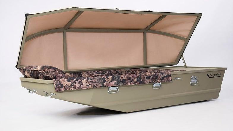 Glory Boats, casket, coffin, duck boat, camo