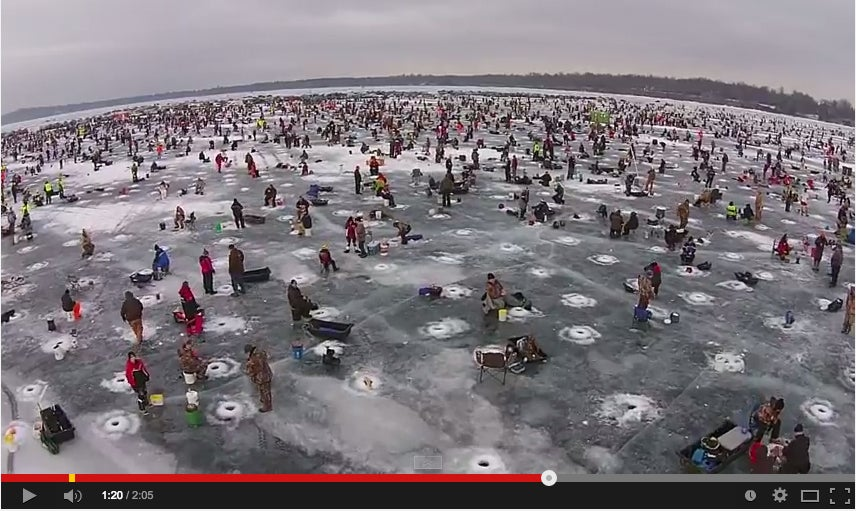 An Aerial View Of The World's Biggest Charity Ice Fishing Contest