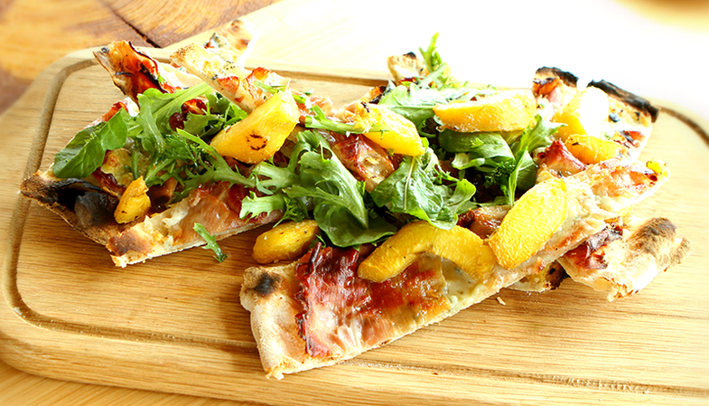 Recipe: Oak Grilled Peach & Prosciutto Flatbread