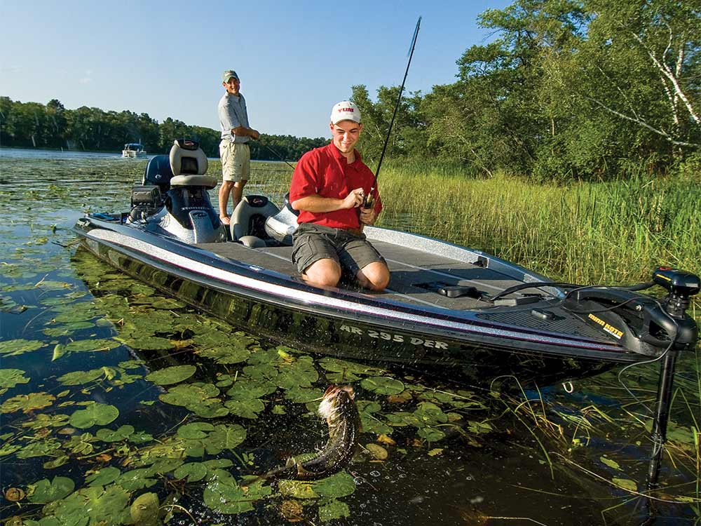 bass fishers fishing in a pad of lilies
