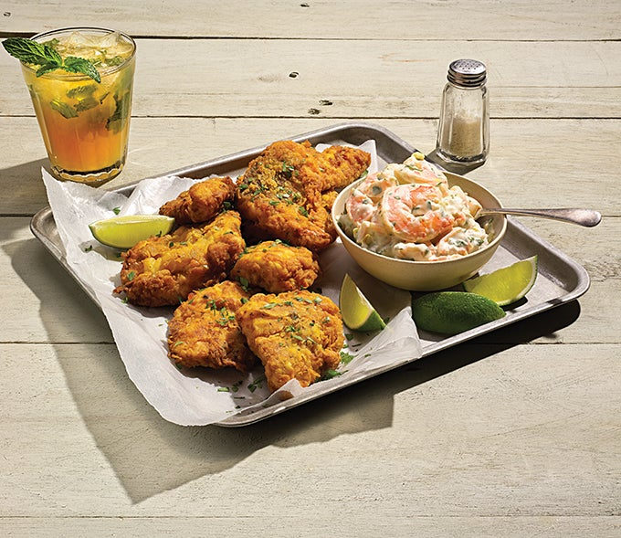 Redfish, Mustard Battered PICKLED SHRIMP REMOULADE, Redfish, Shrimp