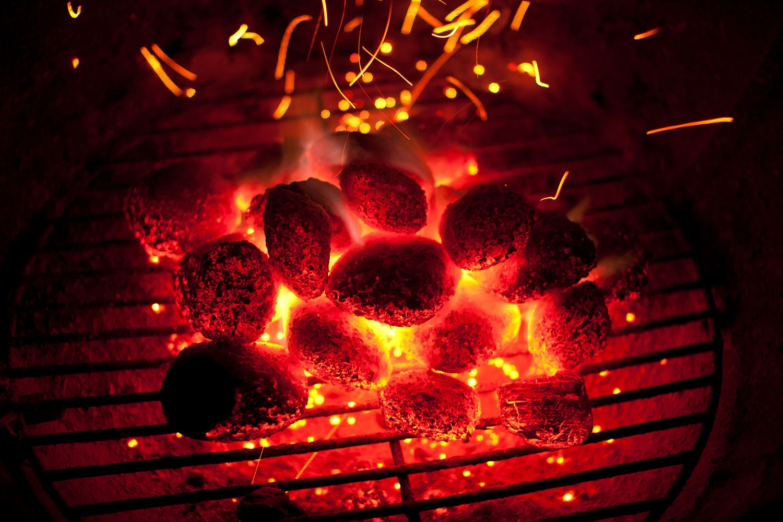 barbecue, coals, briquette, fire