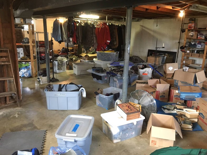 basement, hunting and fishing gear organization