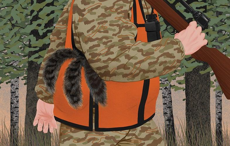 Squirrel hunter illustration