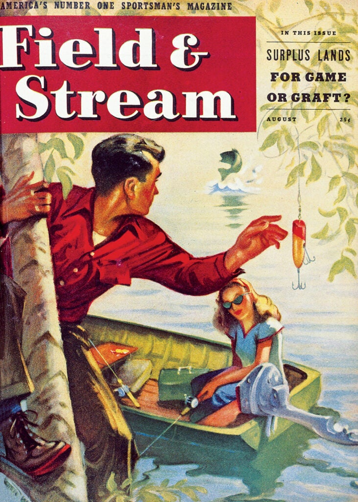 women, vintage, cover, F&S, fishing, boat