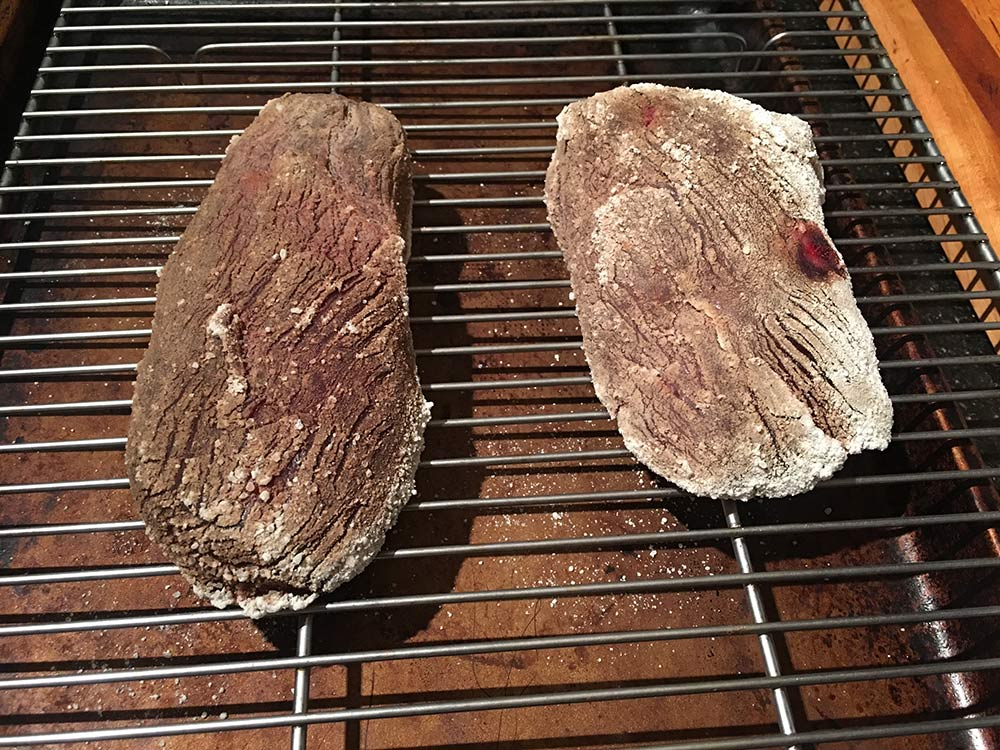 Wild game steaks after two days of koji dry-aging