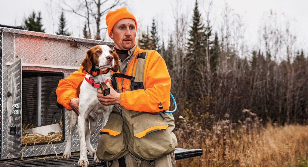 Hunting Guide Tim Winslow and hunting dog