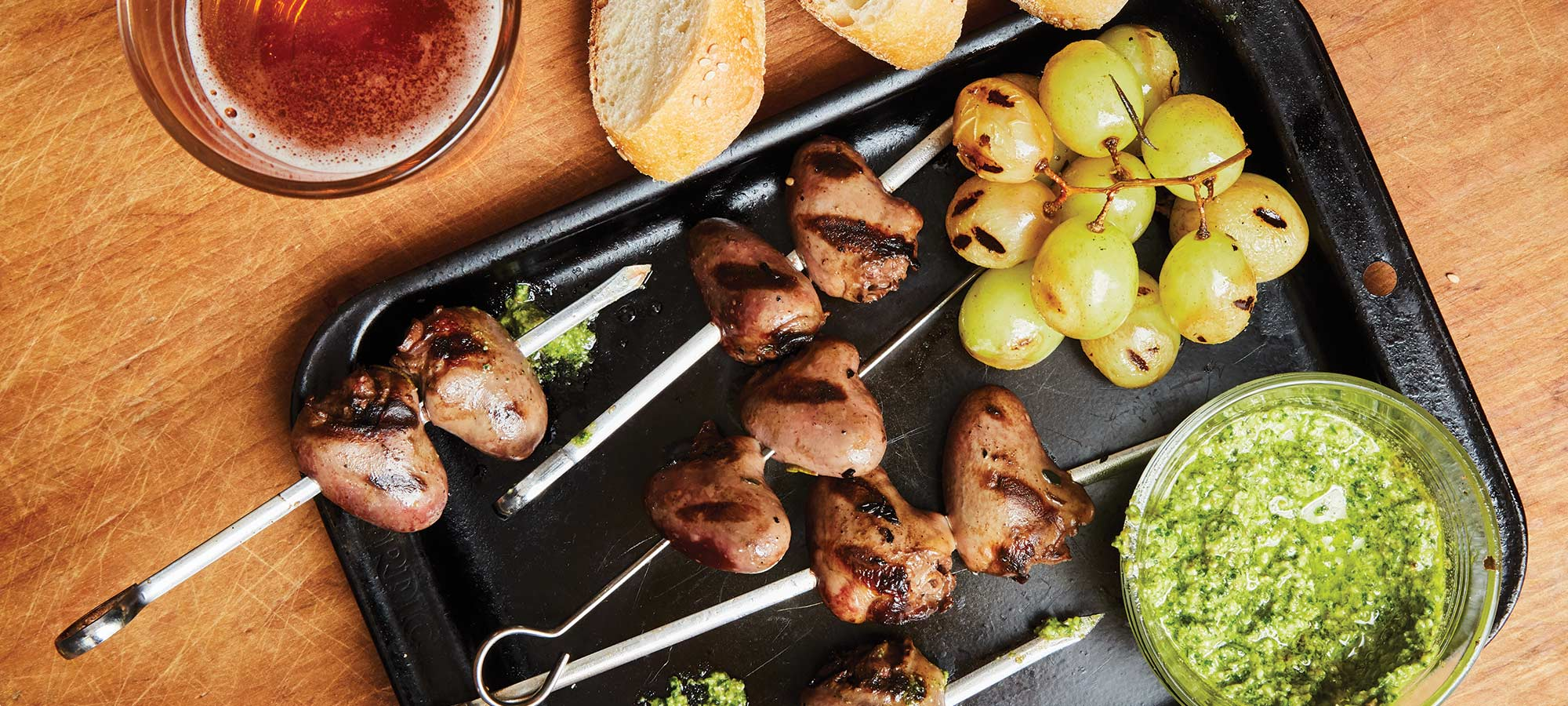 skewered and grilled duck hearts