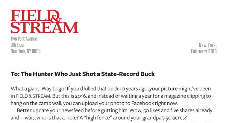 Open Letter. To: The Hunter Who Just Shot a State-Record Buck
