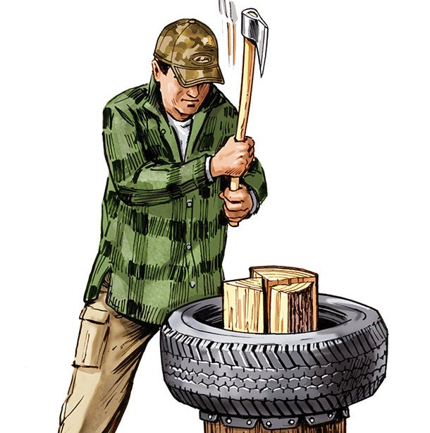 Outdoor Skills: Use Tires to Make a Better Chopping Block